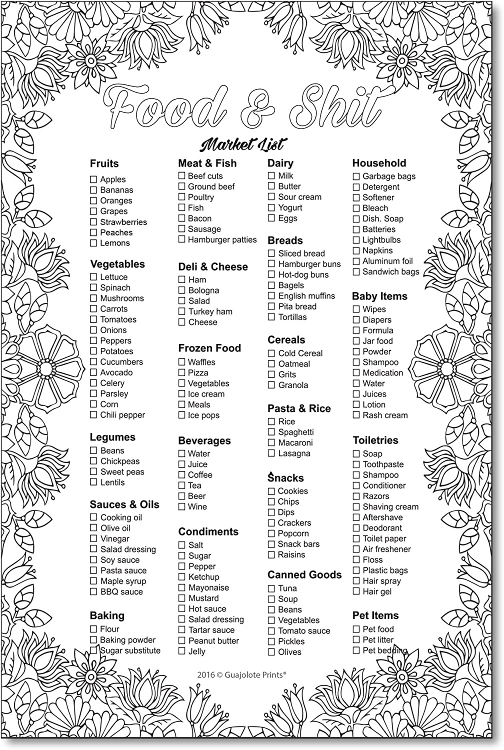 Food and Shit Funny Adult Coloring Magnetic Grocery List - Market List Memo Pad