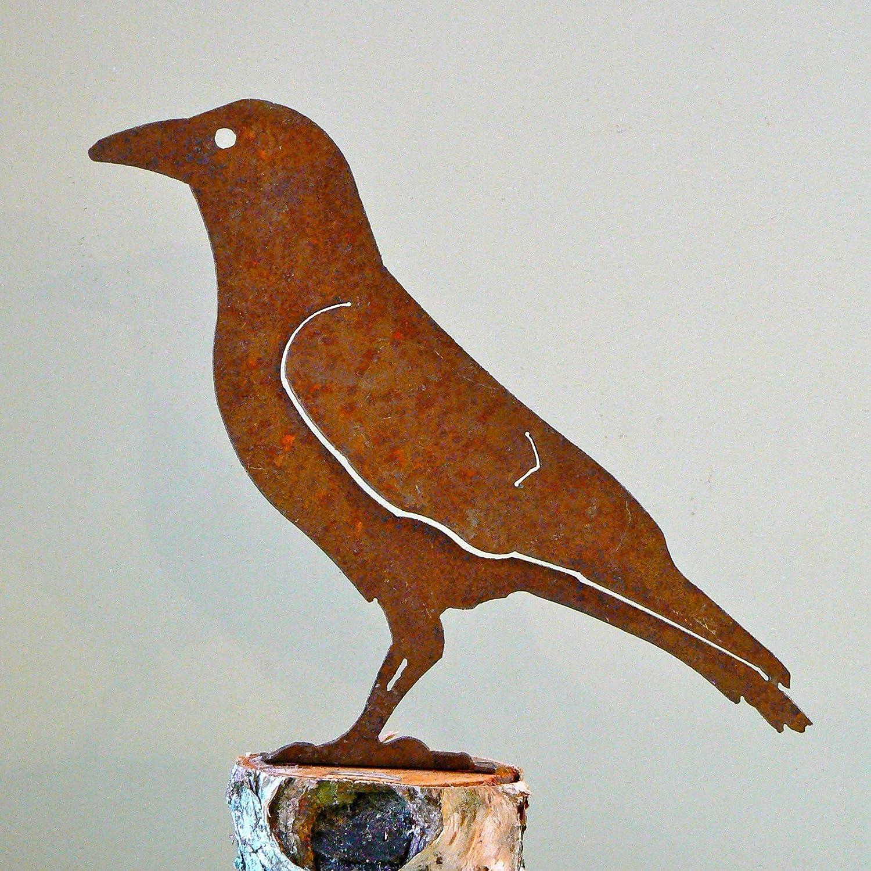 Elegant Garden Design Crow, Steel Silhouette with Rusty Patina