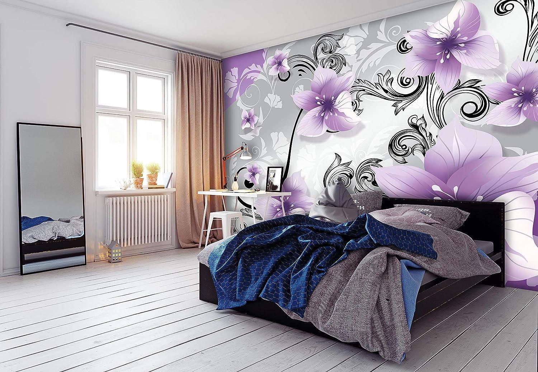6 pi/èces muraux non tiss/és M4653 wandmotiv24 Papiers peints Fleurs violettes ornements noirs L 300 x 210 cm papiers peints de motivation
