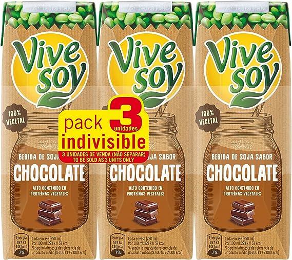 Vivesoy Bebida de Soja Chocolate - Paquete de 3 x 25 cl - Total: 0 ...