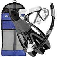 U.S. Divers - Mascarilla de Buceo Cozumel, Tubo de respiración Seabreeze II, Patas de Rana Proflex y Bolsa de Almacenamiento del Equipo, para Adultos