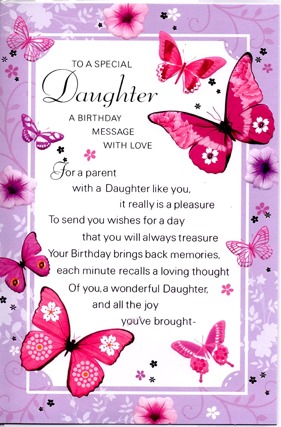 Daughter birthday card to a special daughter a birthday message daughter birthday card to a special daughter a birthday message with love lilac butterflies amazon kitchen home m4hsunfo