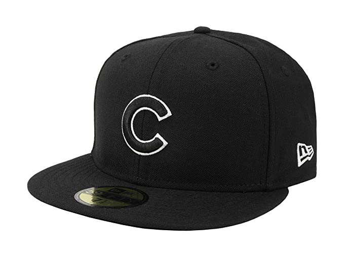 Amazon.com  New Era 59Fifty Cap Chicago Cubs MLB Basic Black White ... 3cdd83548cae