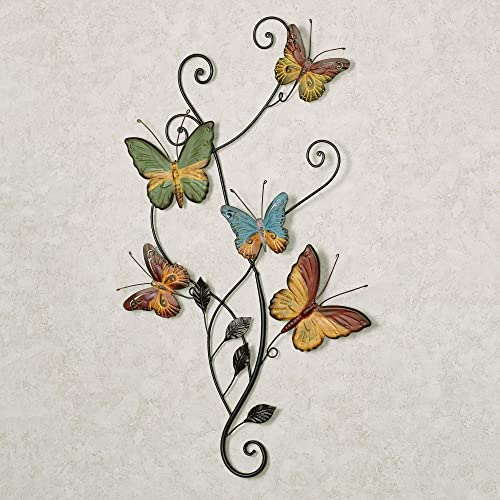 Touch of Class Dancing Butterflies Metal Wall Accent Gold and Green Tones 16.5″ Wx28 H