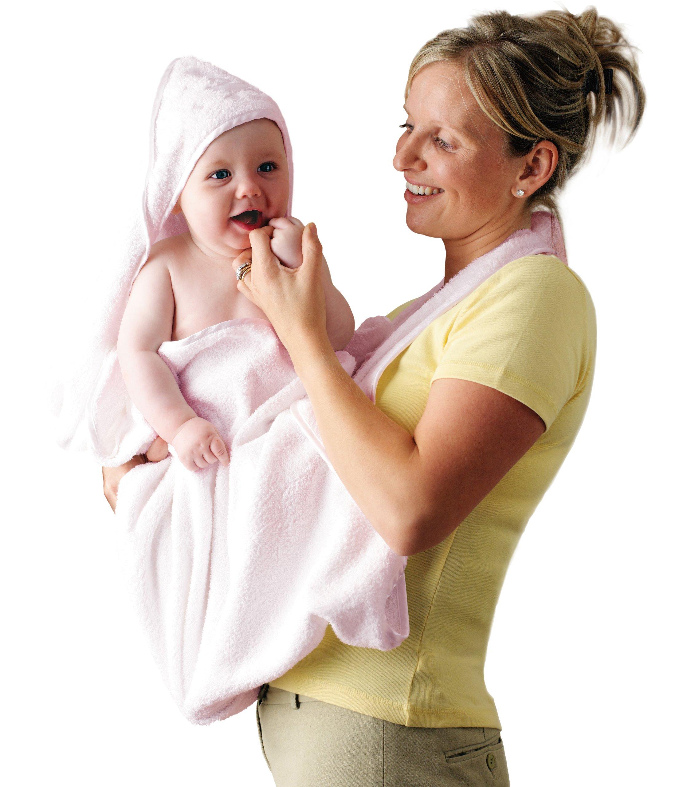 Clevamama Toalla Bebé con Capucha - Capa de Baño Infantil - Rosa product image