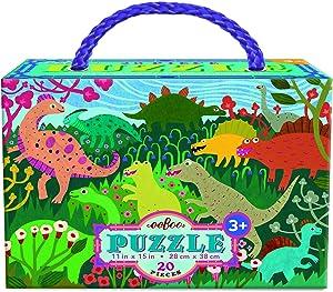 eeBoo Dinosaur Meadow Puzzle for Kids, 20 Pieces