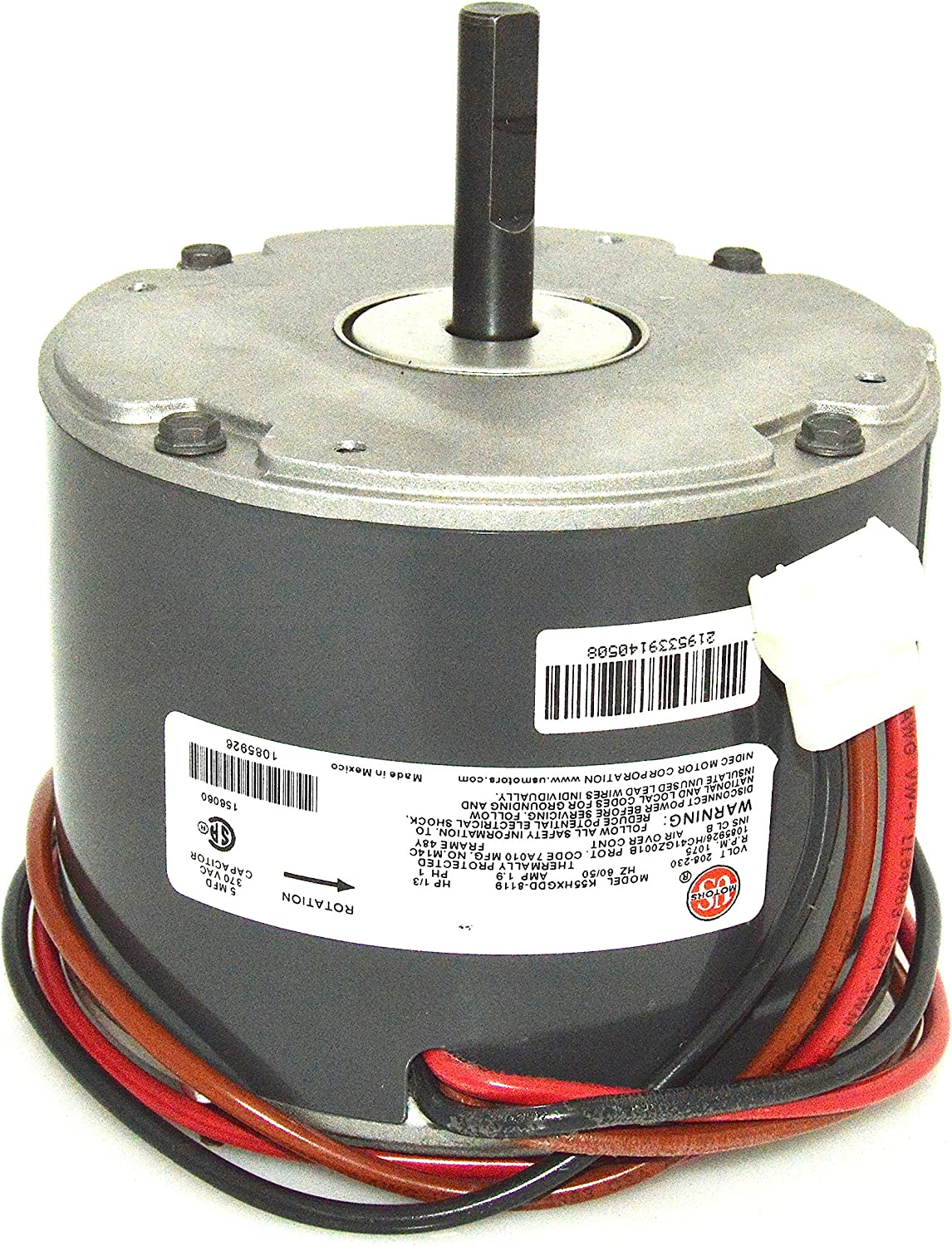 NEW 1//3 HP  US MOTORS EMERSON K55HXPVK-1709 FAN MOTOR 825 RPM 208//230V
