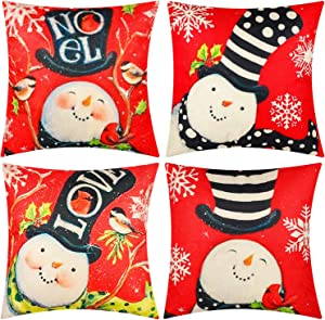"Kolewo4ever 4pieces Christmas Pillow Cases Christmas Theme Pillow Covers Xmas Cushion Covers for Christmas Holiday Festival Home Office Decorations 18""x18"""