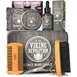Viking Revolution Beard Care Kit for Men - Ultimate Beard Grooming Kit includes 100% Boar Men's Beard Brush, Wooden Beard Com