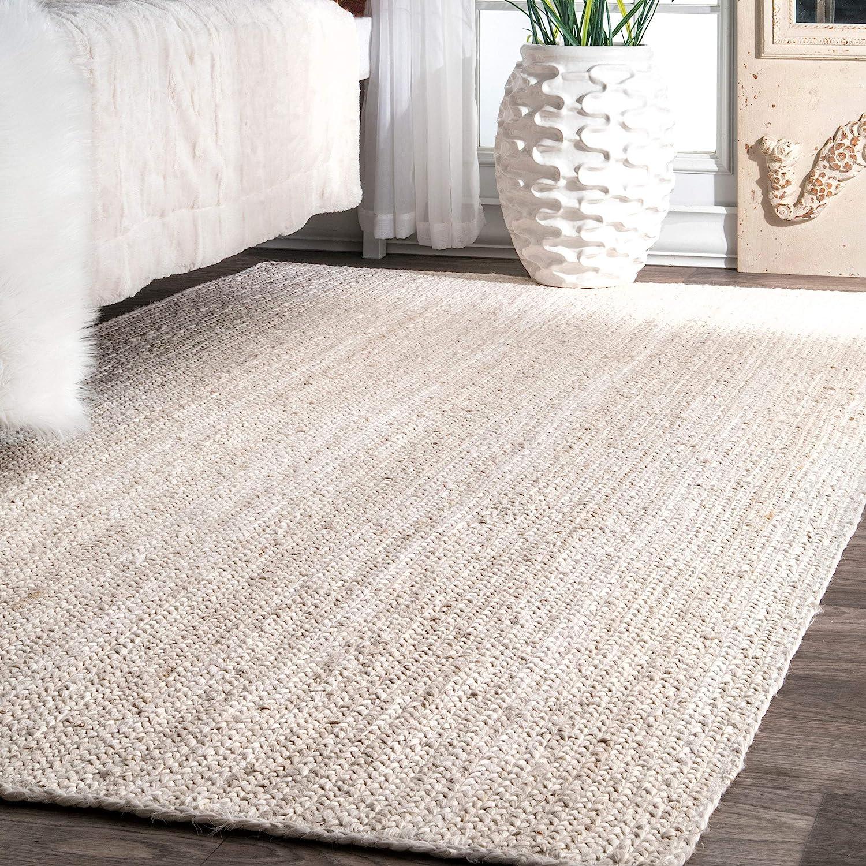 Nuloom Rigo Hand Woven Jute Area Rug 5 X 8 Off White Furniture Decor