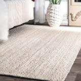 Nuloom Rigo Hand Woven Jute Area Rug 5 X 8 Off White Furniture Decor