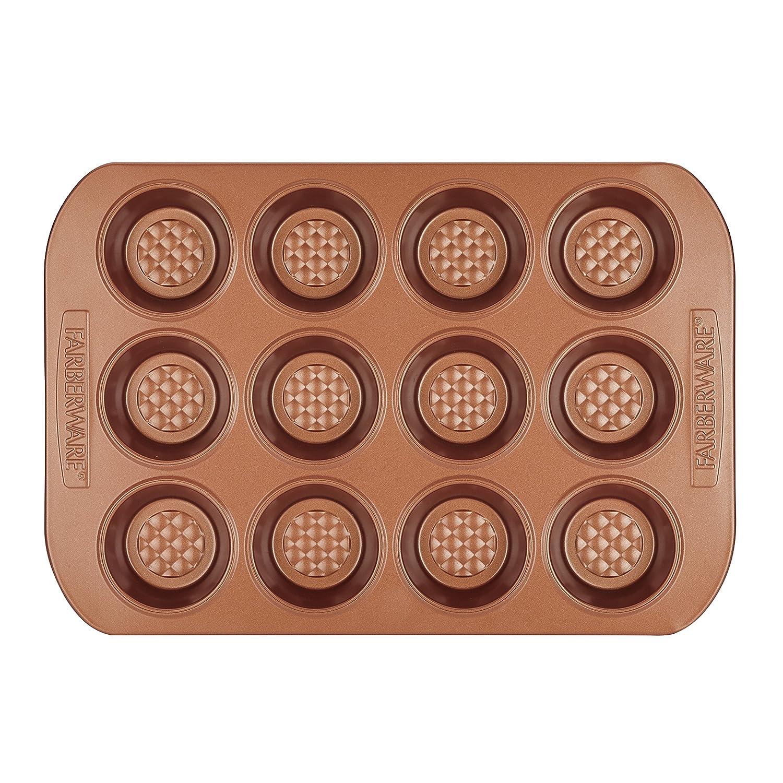Farberware Colorvive Nonstick Muffin Pan, 12-Cup, Copper 47142