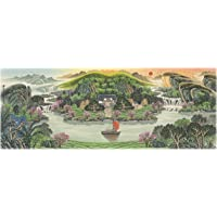 """INKWASH Feng Shui for Wealth Green Chinese Mountain Landscapes Painting Artwork Large Office Feng Shui Products Wall Art for Living Room 40""""x19"""""""