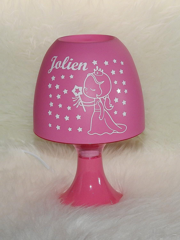 mit Wunschname rosa Tischleuchte Kinderlampe Prinzessin