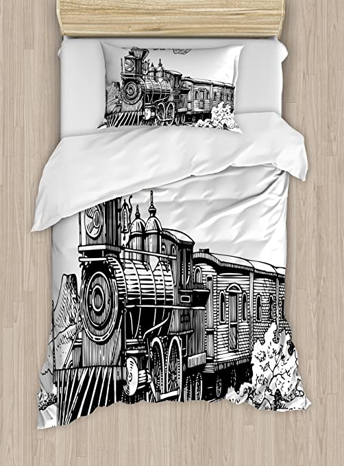 Ambesonne Steam Engine Fitted Sheet /& Pillow Sham Set Full Decorative Printed 3 Piece Bedding Decor Set Black and White Rustic Old Train in Country Locomotive Wooden Wagons Rail Road Smoke