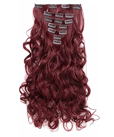 Amazon onedor 20 curly full head clip in synthetic hair onedor 20quot curly full head clip in synthetic hair extensions 7pcs 140g 99j pmusecretfo Image collections