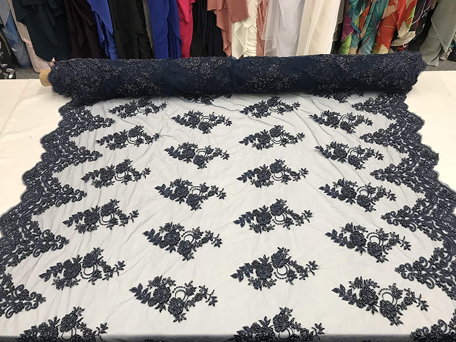 Tablecloths Runners Night Gowns Costumes Navy Mesh Lace Floral Fabric By The Yard/_ Embroidery Handmade Floral Lace/_ Decor Skirts