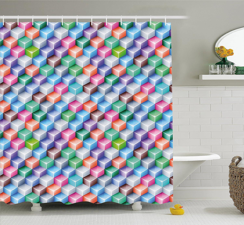 Amazon.com: Geometric Shower Curtain by Ambesonne, Futuristic 3D ...