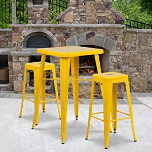 "Flash Furniture Commercial Grade 23.75"" Square Yellow Metal Indoor-Outdoor Bar Table Set with 2 Square Seat Backless Stools"