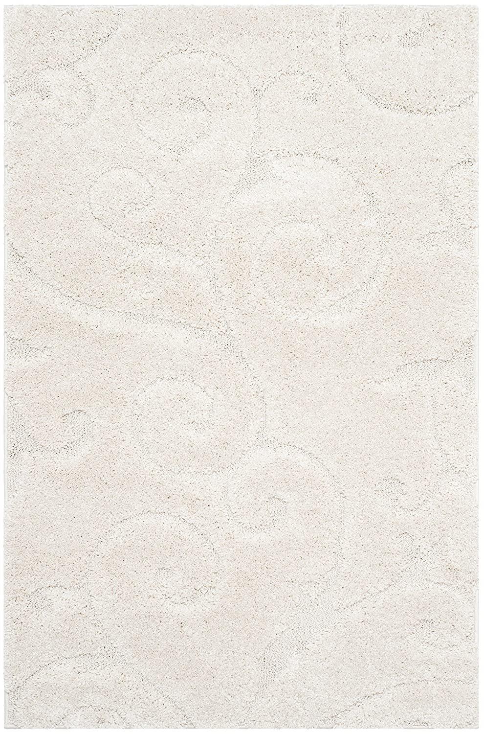 Creme Creme 2'3  x 4' Safavieh Florida Shag Collection SG455-1290 Scrolling Vine Ivory and Black Graceful Swirl Area Rug (6' x 9')