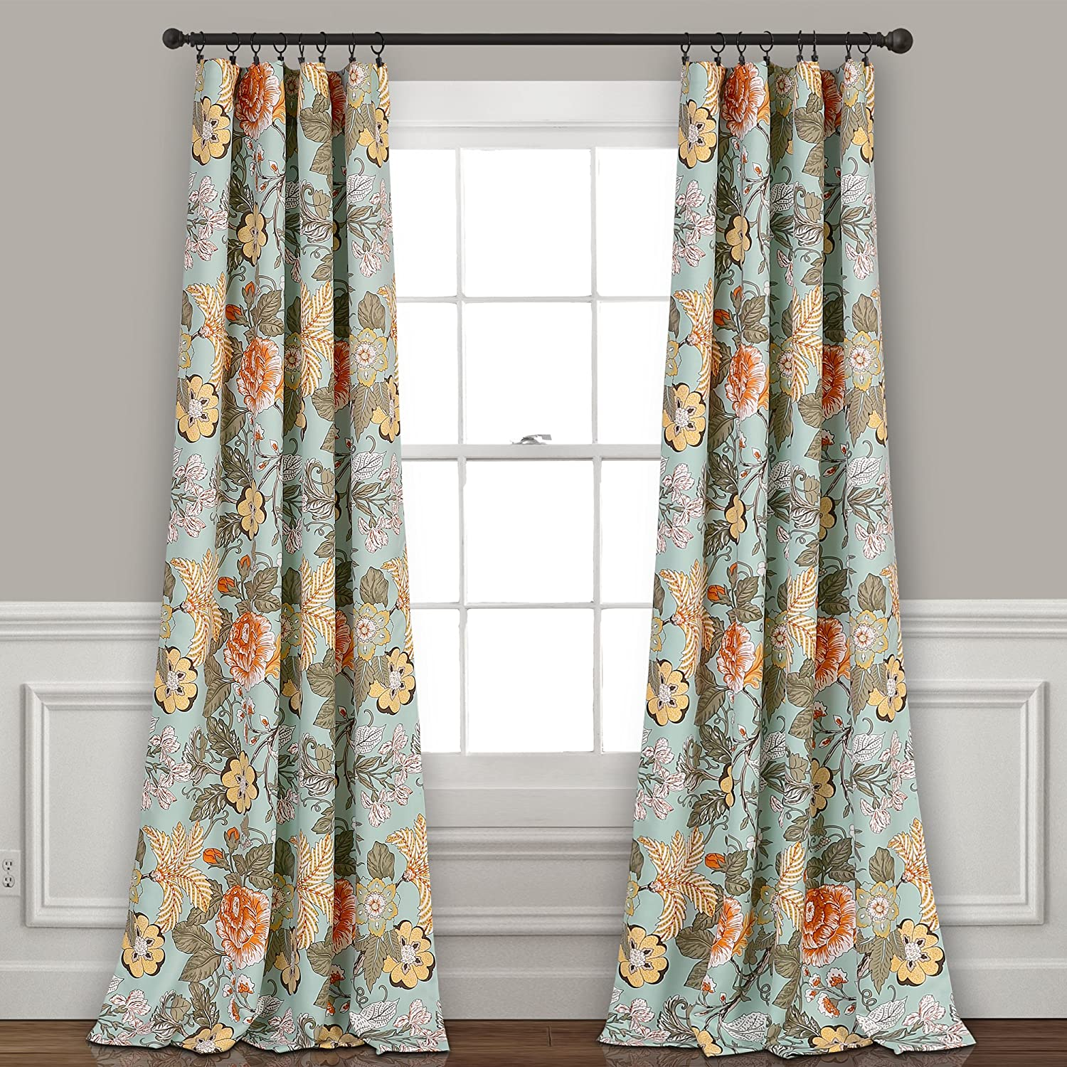 "Lush Decor Sydney Curtains | Floral Garden Room Darkening Window Panel Set for Living, Dining, Bedroom (Pair), 84"" x 52"", Blue and Green, 84"" x 52"", Blue & Green"