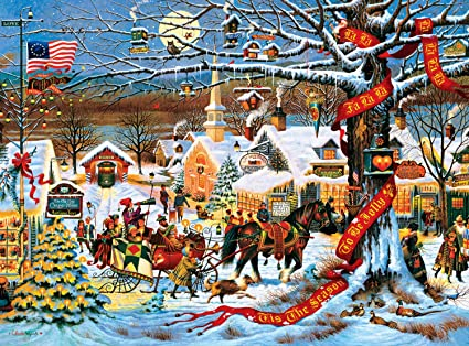 buffalo games charles wysocki small town christmas 1000 piece jigsaw puzzle - Small Town Christmas