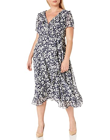 Plus Size Women Dress Floral Printed  Wrap Dress Short Sleeve Casual Dress LA