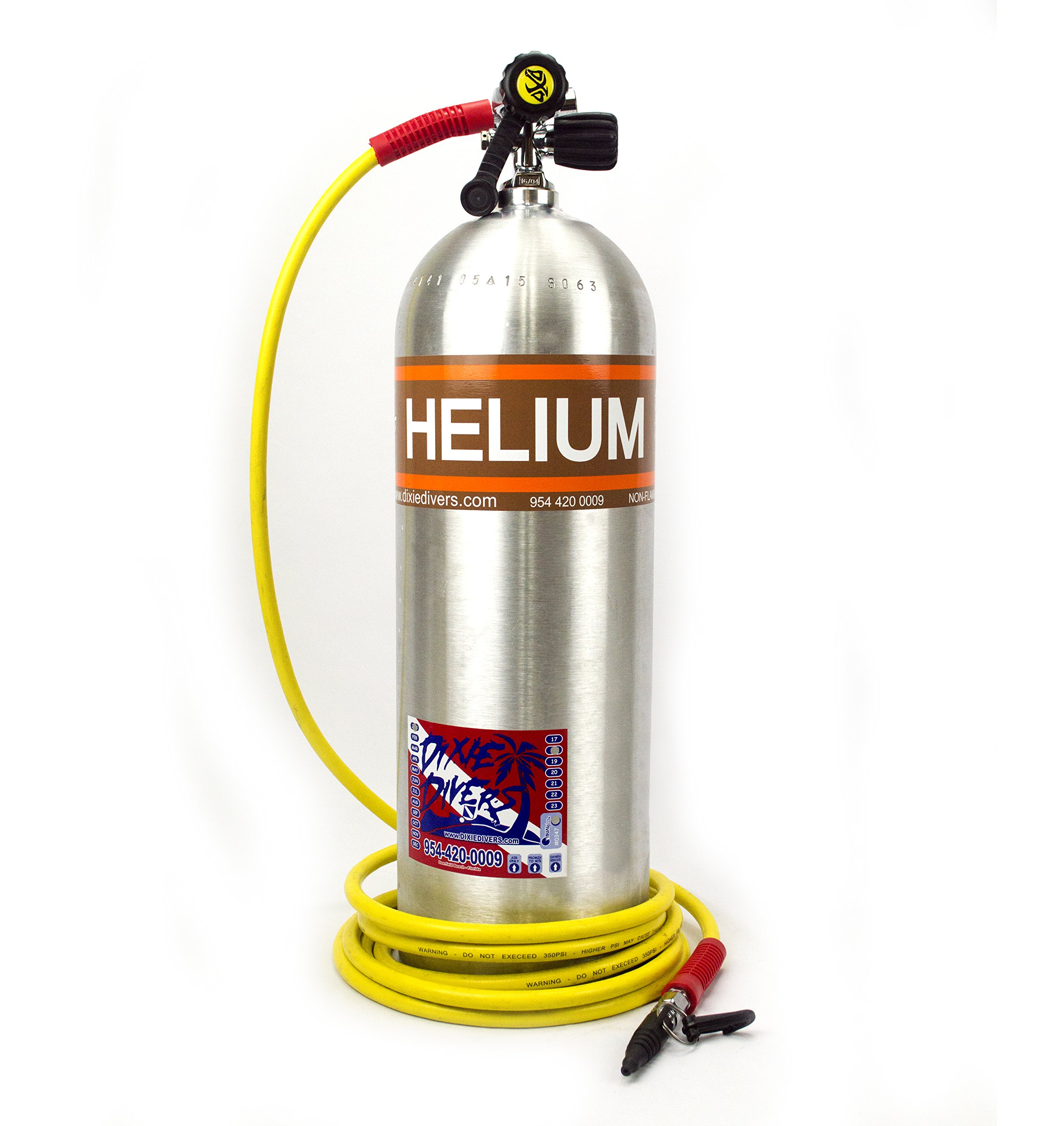 Dixie Divers Helium Tank 30cf or 60cf For Balloons Kite Fishing HE Aluminum Cylinder With Long 10 ft Hose Filler Parties Balloon (60 Cubic Feet) by Dixie Divers