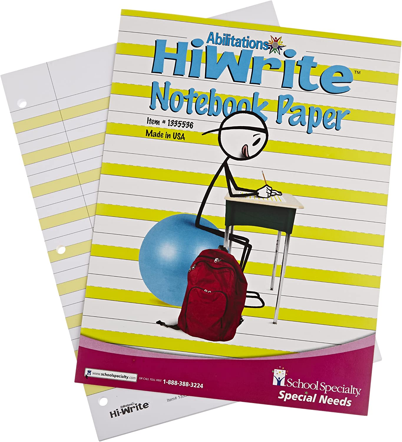 100 Pages//50 Sheets Abilitations Hi-Write Wide Ruled Notebook Paper
