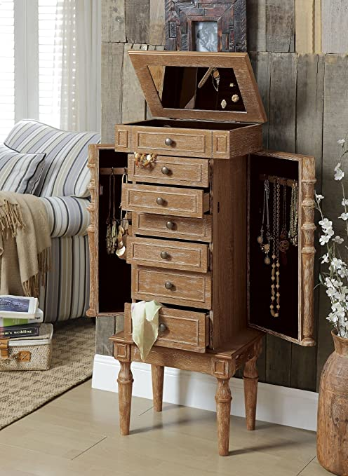 Amazon Com Major Q Rustic Style Weathered Oak Finish Classy Jewelry Armoire With 6 Different Drawers And 2 Swing Out Doors With Hooks Home Kitchen