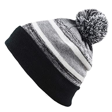 7998a31a40790 The Hat Depot Toddler Kids Hat Warm Pompom Stretchy Knit Beanie Cap Hat  (Black