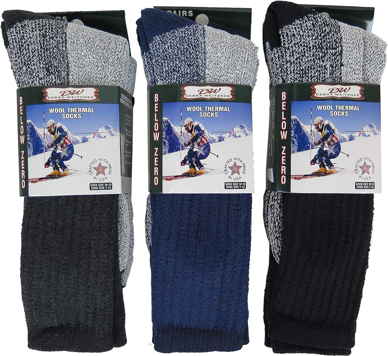 6 Pairs Mens Womens Wool Socks Heavy Extreme Cold Weather Thermal Socks By DEBRA WEITZNER