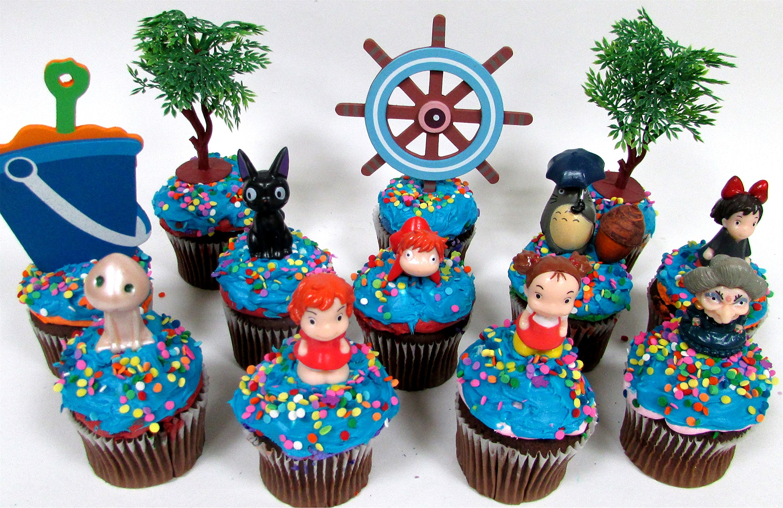 cupcake topper Anime Studio Ghibli Themed Birthday Set Featuring Ponyo, Yubaba, Jiji, Kodoma, Decorative Themed Accessories, Figures Average 1'' to 2'' Tall