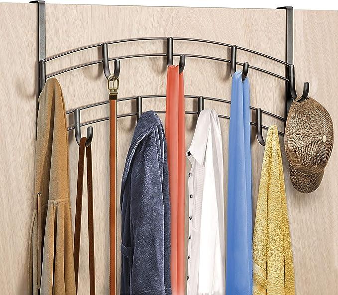 Over-The-Door Hook Rack Metal 5 Hooks Hanger Storage Hanging Holder L7S3 D1K8