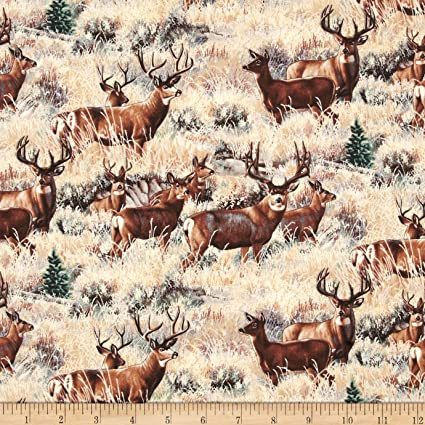 Kanvas Lodge Life Scenic Deer Patch Brown Fabric Cotton Fabric By The Yard