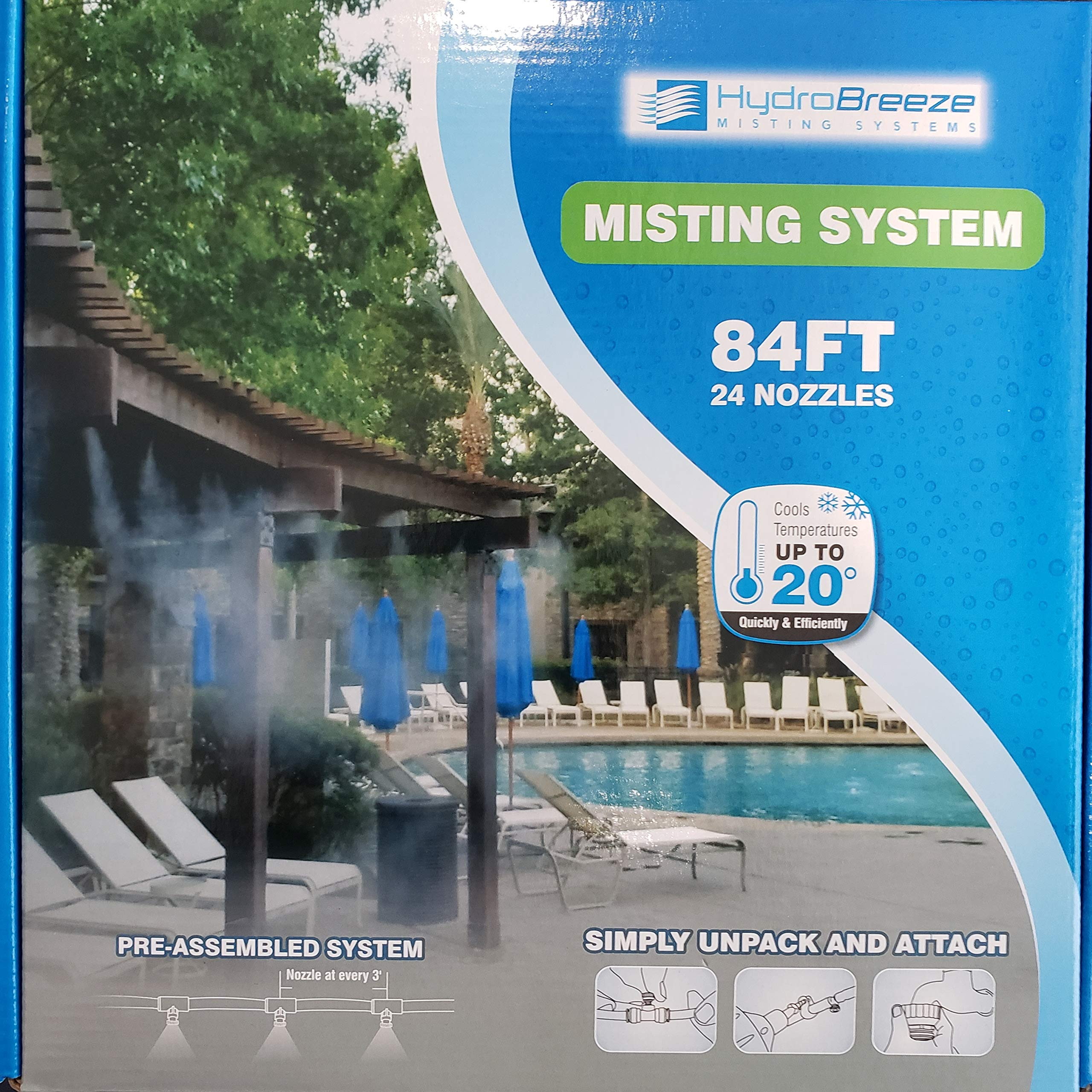 Hydrobreeze Pre-Assembled Misting System 84 Feet 1/4 in Beige Tubing - 24 Nozzles by Hydrobreeze