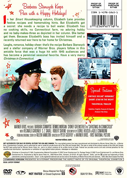 Christmas In Connecticut Dvd.Amazon Com Christmas In Connecticut 1945 Dvd Barbara