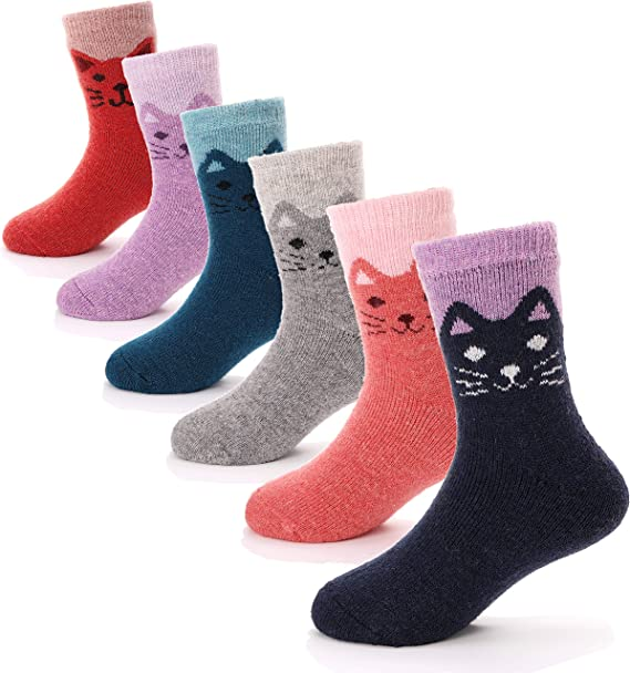 6 Pairs Wool Socks For Boy Girl Thick Thermal Warm Cotton Winter Soft Crew Socks