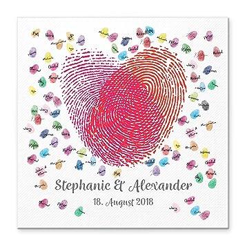 Madyes Leinwand Hochzeit Fingerabdruck Gästebuch Personalisiert Herz