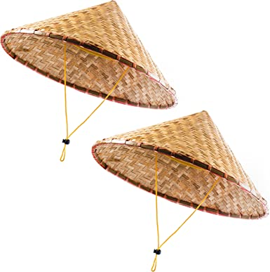 Amazon Com Funny Party Hats Oriental Hat Bamboo Hat Asian Hat Chinese Hat Japanese Hat Conical Hat Rice Farmer Hats Tan 2 Pack Clothing
