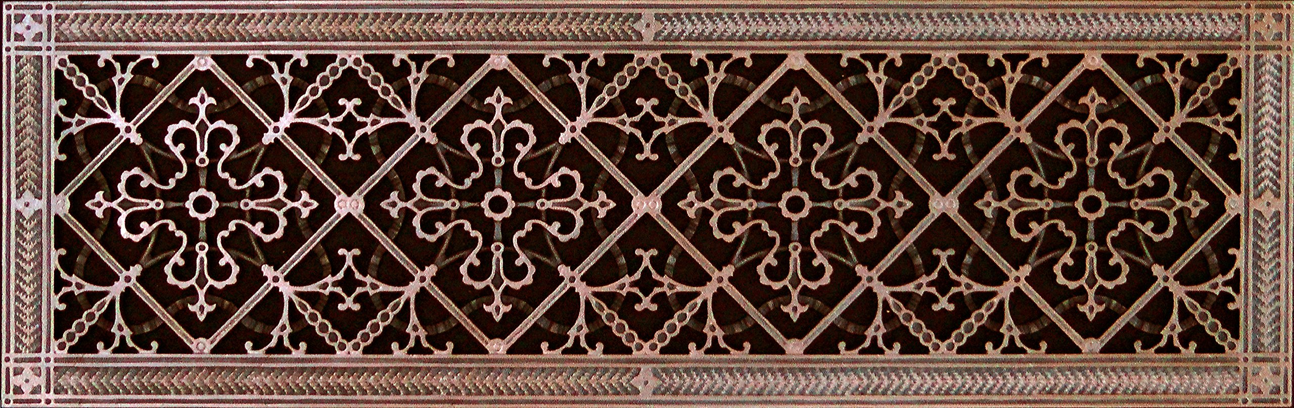 Decorative Grille, Vent Cover, or Return Register. Made of Urethane Resin to fit over a 8''x30'' duct or opening. Total size of vent is 10''x32''x3/8'', for wall and ceiling grilles (not for floor use).