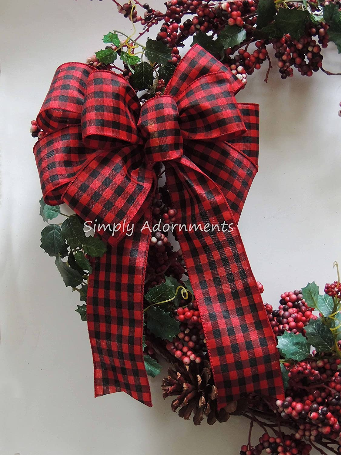 Buffalo Check Christmas Wreath.Red Black Check Bow Rustic Cabin Plaid Wreath Bow Red Black Buffalo Plaid Bow Country Plaid Wedding Bow Cabin Christmas Tree Bow