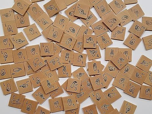 Iconoglyph - Azulejos de Scrabble para Letras de Madera, diseño de Letras del Alfabeto ASL: Amazon.es: Juguetes y juegos