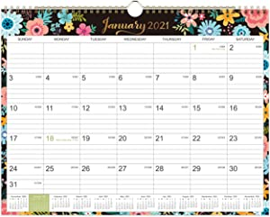 "2021 Calendar - 12 Monthly Wall Calendar with Thick Paper, 14"" x 11"", Jan. 2021 - Dec. 2021, Twin-Wire Binding + Hanging Hook + Ruled Blocks with Julian Date, Horizontal - Black Floral"