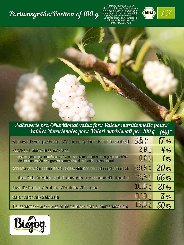 Biojoy Moras blancas ecológicas, sin azúcar y conservantes (1 kg)