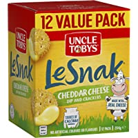 UNCLE TOBYS Le Snak Cheddar Cheese Dip and Cracker Value Pack, 1 Box of 12, 264g