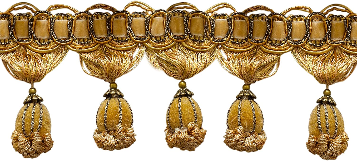 Sold by The Yard 3 Medium and light Gold Victorian Style Tassel Fringe Golden Rays 4875