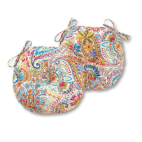 Round Outdoor Bistro Chair Cushion In Painted Paisley (set