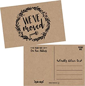 Set of 50 Rustic Kraft We've Moved Postcards, Change of New Address Moving Announcements, House Warming Gifts, Weve Moved Cards, We Have Just Moved Note Cards, Pack of Real Estate Home Postcard