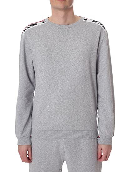 f7702b550c0a0 Moschino Tape Shoulder Men's Sweat Top Grey XXL: Amazon.co.uk: Clothing